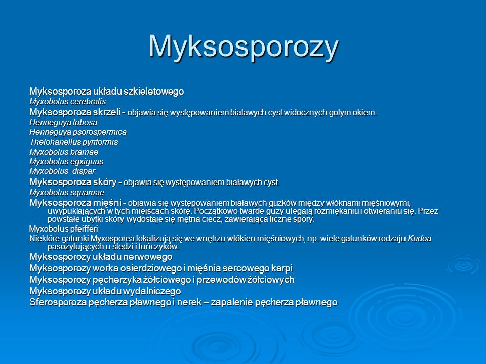 Myksosporozy Myksosporoza układu szkieletowego