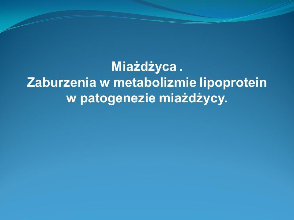 Zaburzenia w metabolizmie lipoprotein w patogenezie miażdżycy.