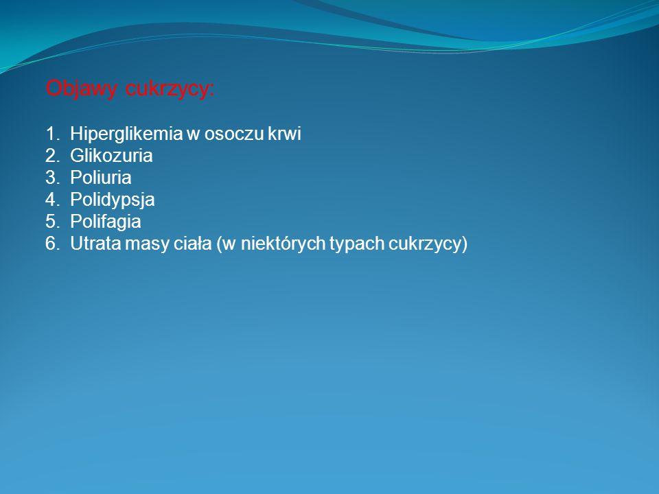 Objawy cukrzycy: Hiperglikemia w osoczu krwi Glikozuria Poliuria