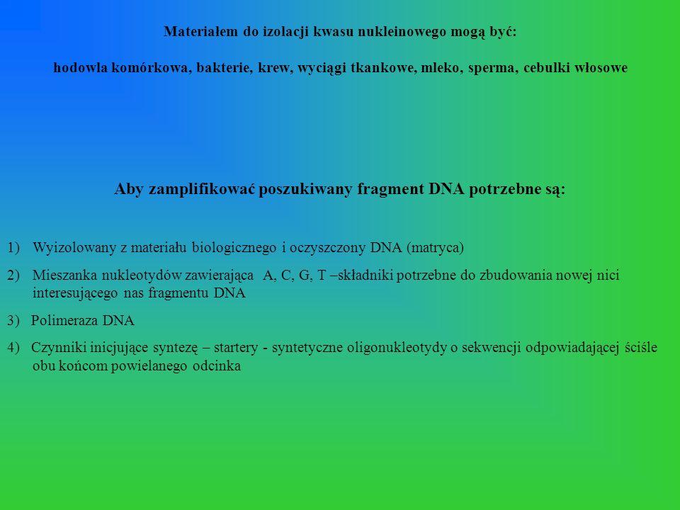 Aby zamplifikować poszukiwany fragment DNA potrzebne są: