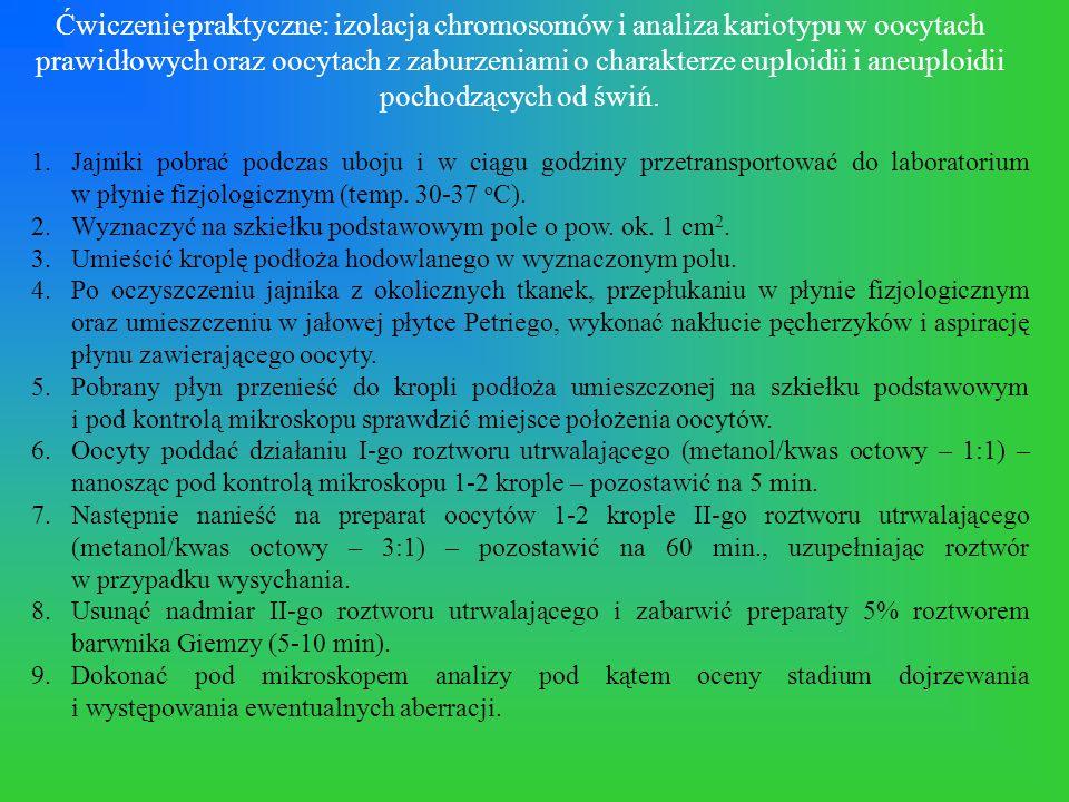 Ćwiczenie praktyczne: izolacja chromosomów i analiza kariotypu w oocytach prawidłowych oraz oocytach z zaburzeniami o charakterze euploidii i aneuploidii pochodzących od świń.