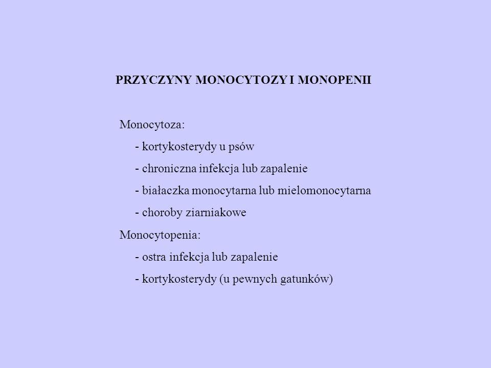 PRZYCZYNY MONOCYTOZY I MONOPENII
