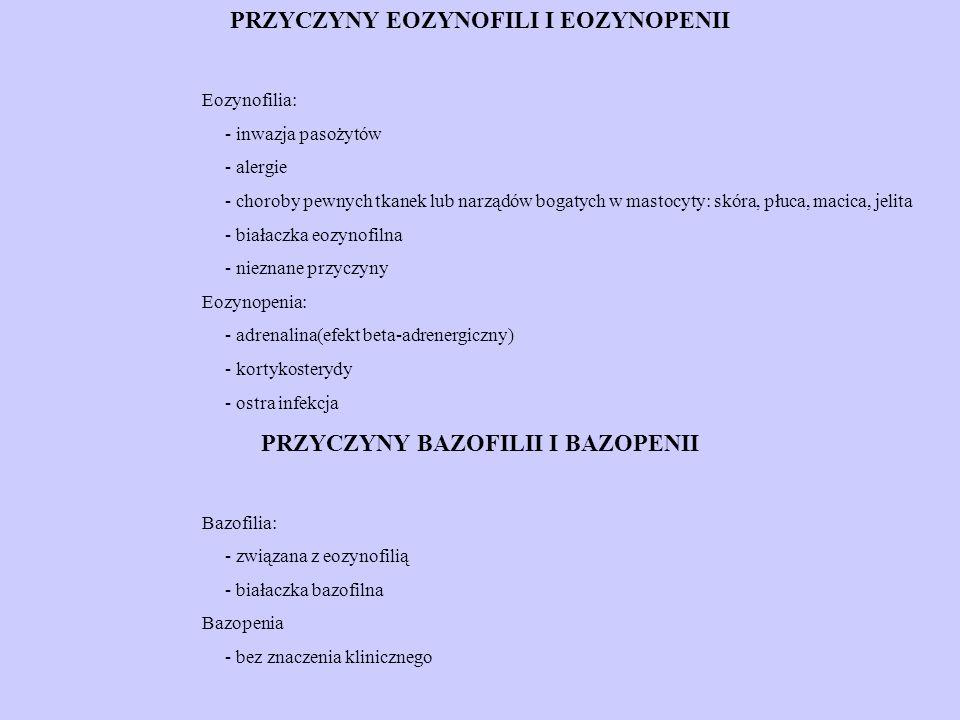 PRZYCZYNY EOZYNOFILI I EOZYNOPENII PRZYCZYNY BAZOFILII I BAZOPENII