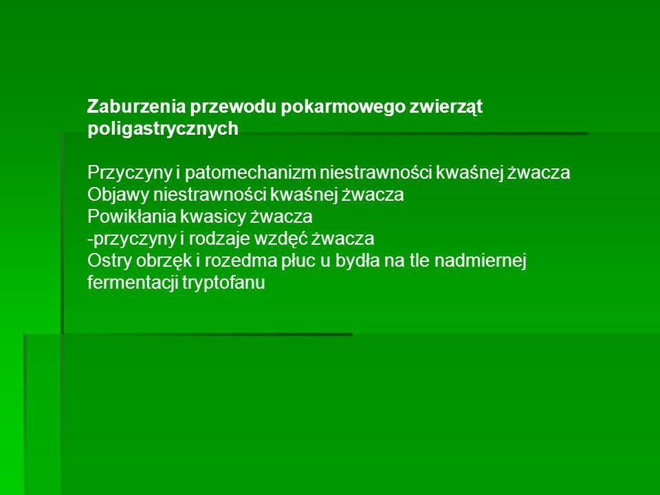 Zaburzenia przewodu pokarmowego zwierząt poligastrycznych