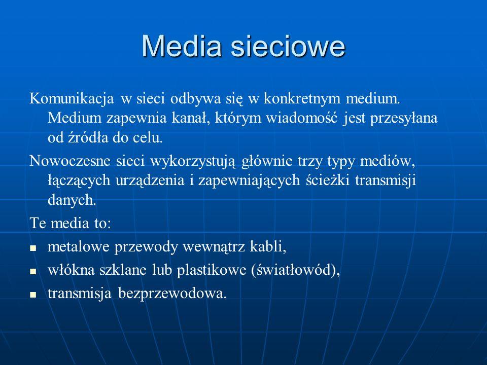 Media sieciowe Komunikacja w sieci odbywa się w konkretnym medium. Medium zapewnia kanał, którym wiadomość jest przesyłana od źródła do celu.