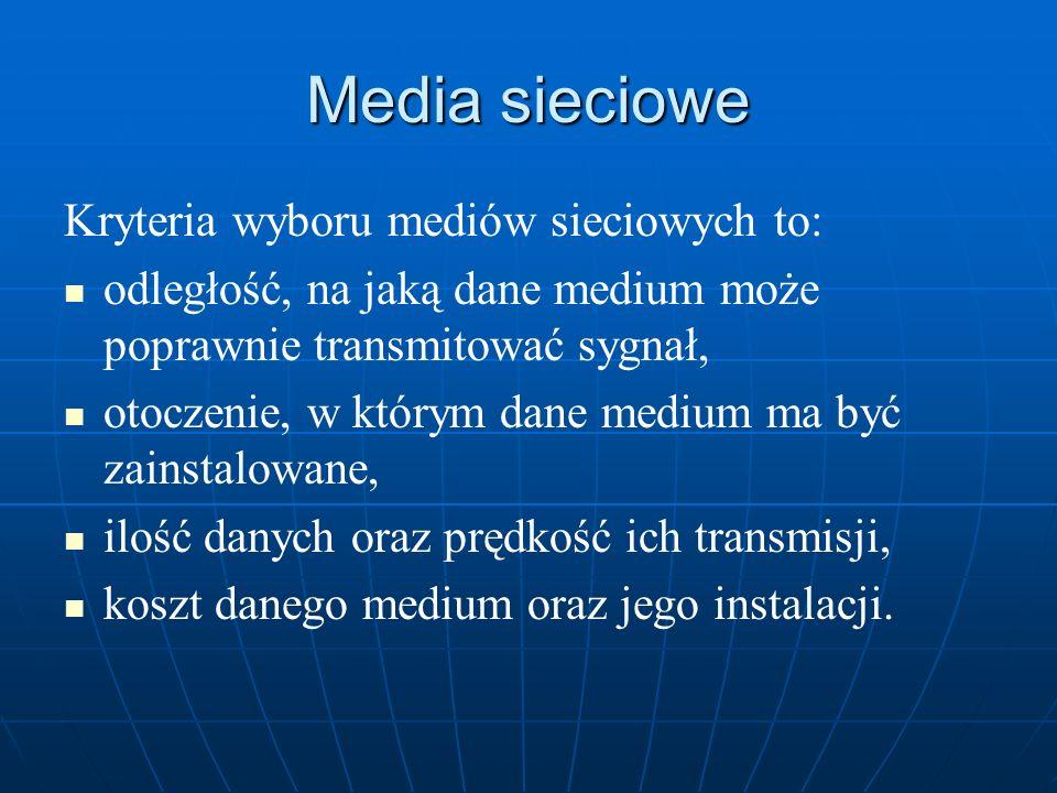 Media sieciowe Kryteria wyboru mediów sieciowych to: