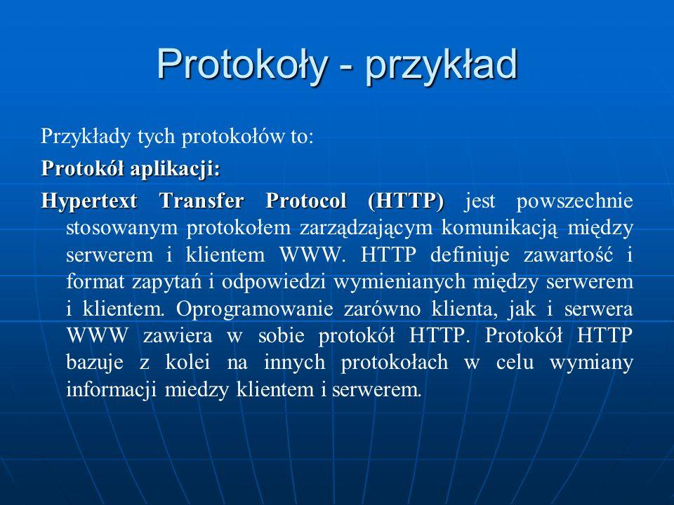 Protokoły - przykład Przykłady tych protokołów to: Protokół aplikacji: