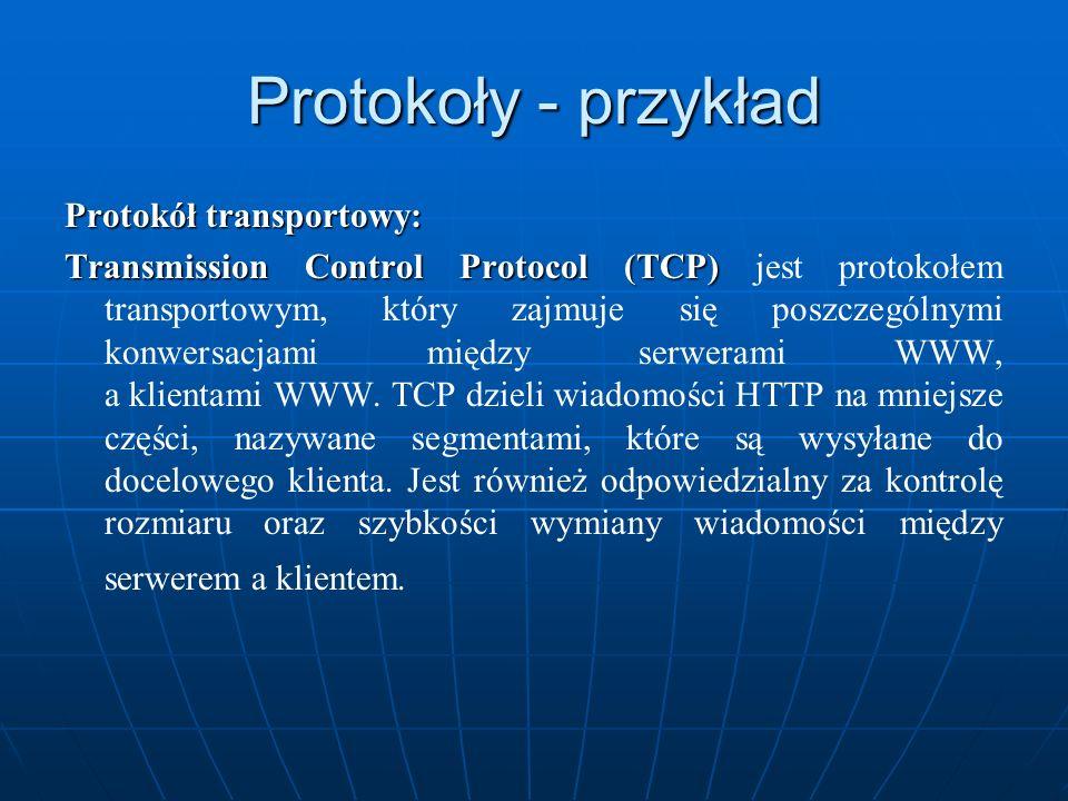 Protokoły - przykład Protokół transportowy: