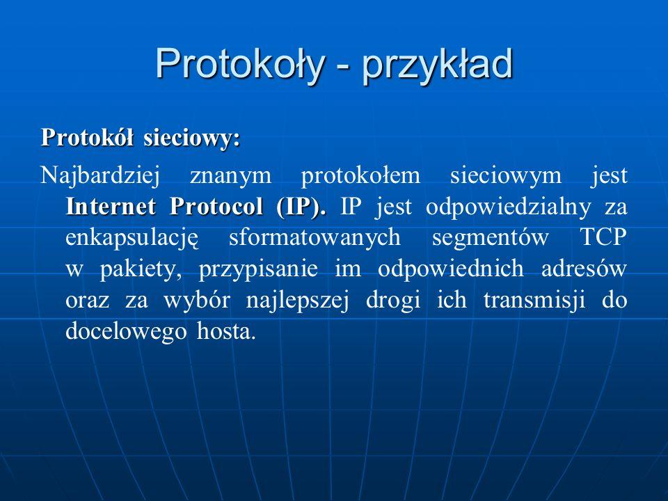 Protokoły - przykład Protokół sieciowy: