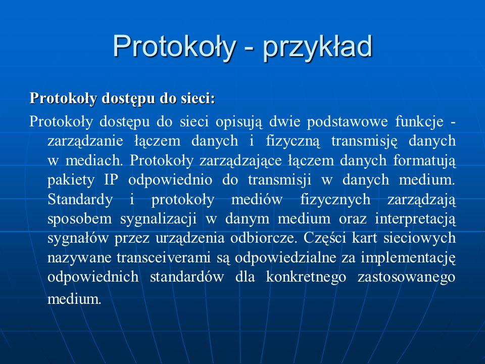 Protokoły - przykład Protokoły dostępu do sieci: