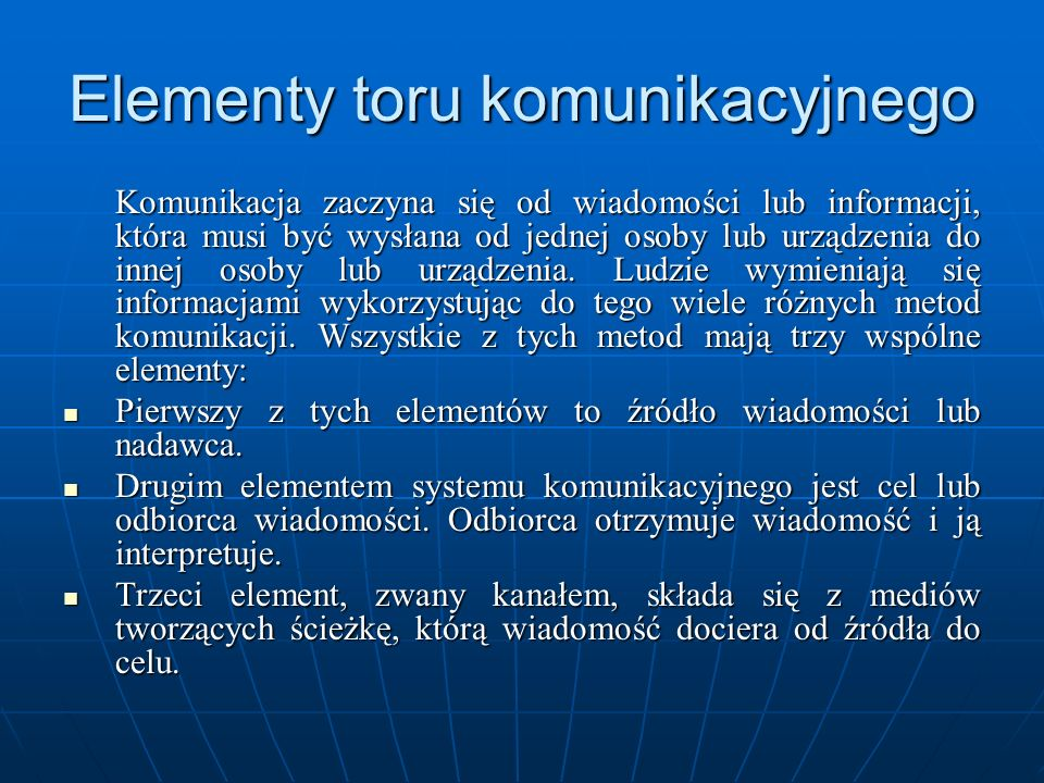 Elementy toru komunikacyjnego