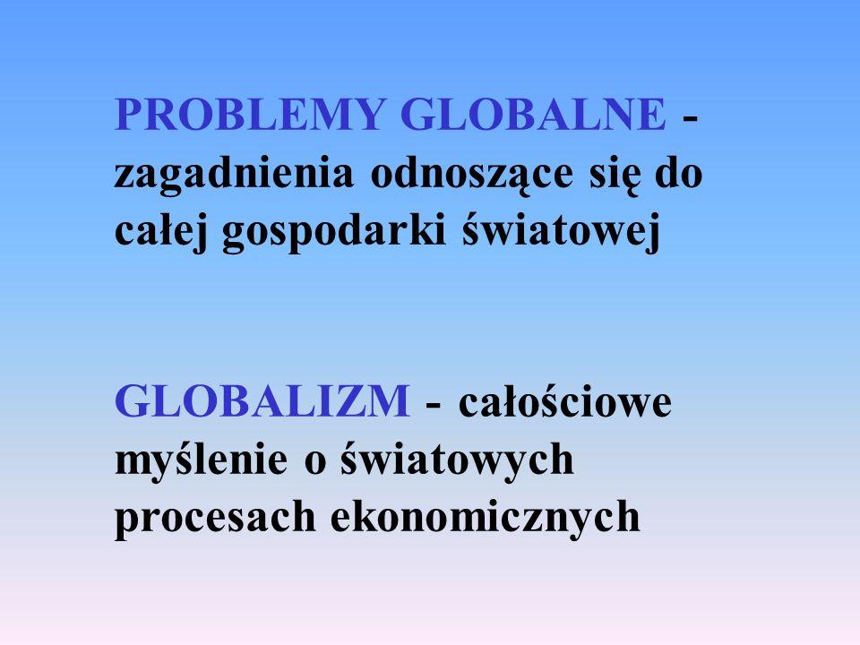 PROBLEMY GLOBALNE -zagadnienia odnoszące się do całej gospodarki światowej