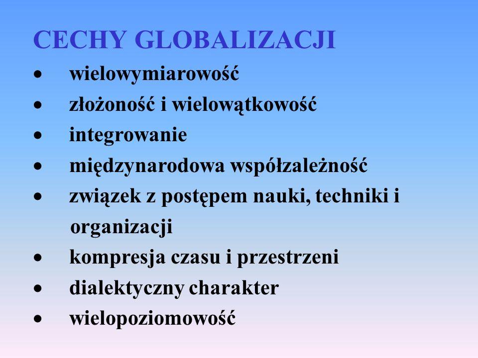 CECHY GLOBALIZACJI · wielowymiarowość · złożoność i wielowątkowość