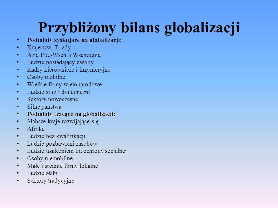 Przybliżony bilans globalizacji