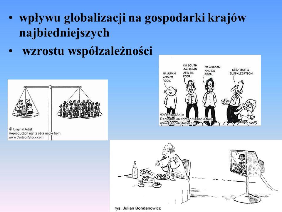 wpływu globalizacji na gospodarki krajów najbiedniejszych