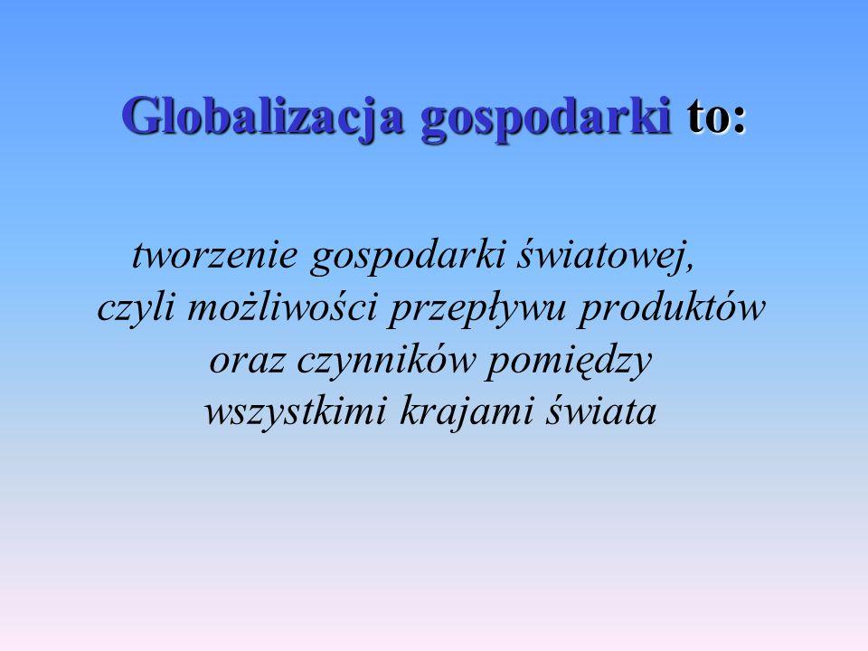 Globalizacja gospodarki to: