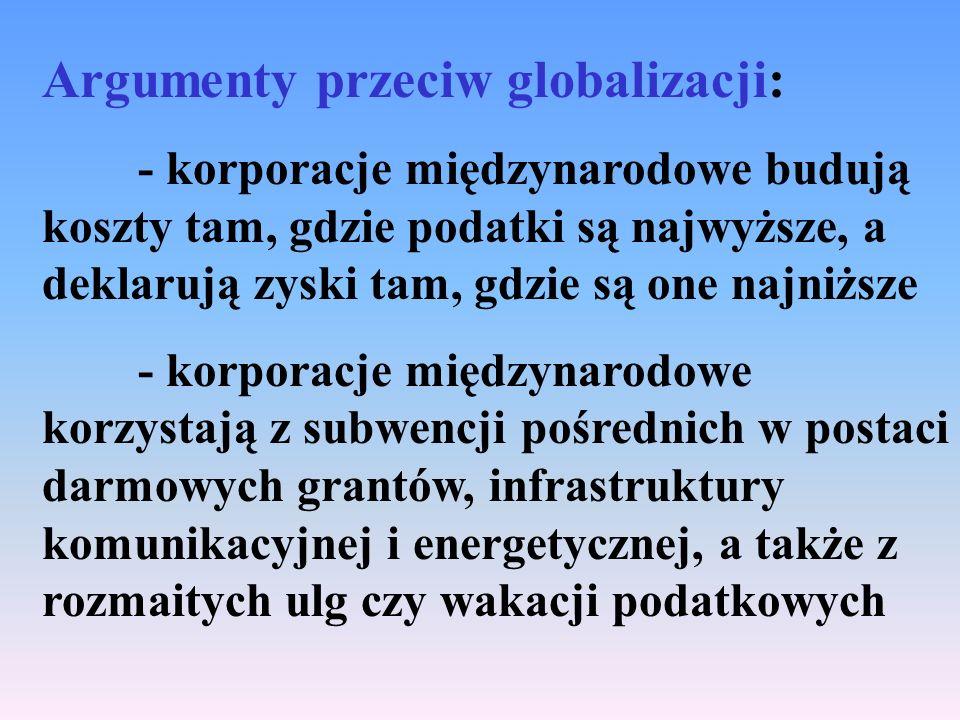 Argumenty przeciw globalizacji: