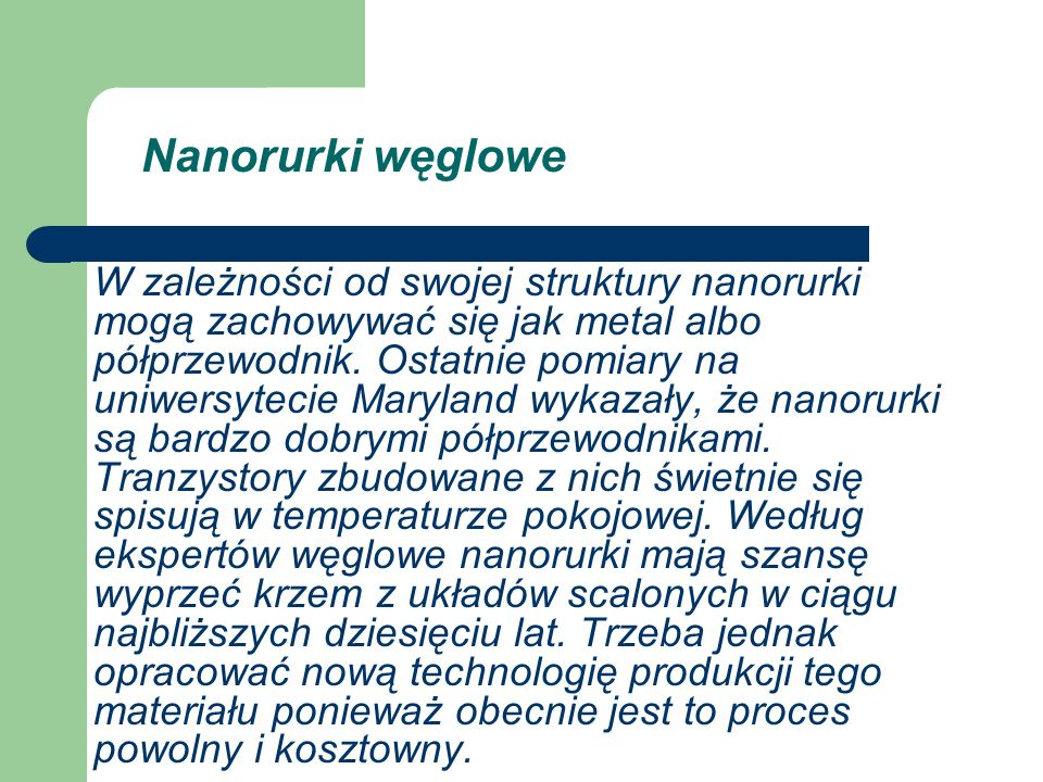 Nanorurki węglowe