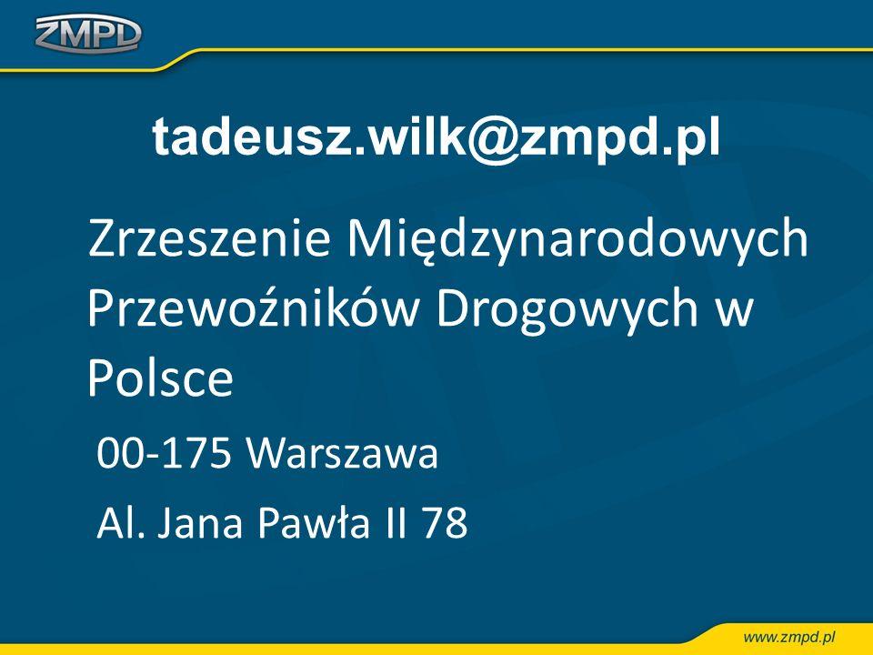 tadeusz.wilk@zmpd.pl 00-175 Warszawa Al. Jana Pawła II 78