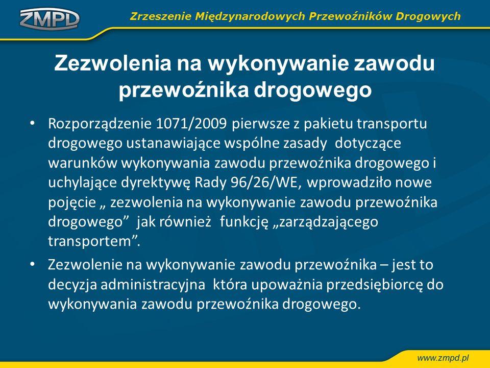 Zezwolenia na wykonywanie zawodu przewoźnika drogowego