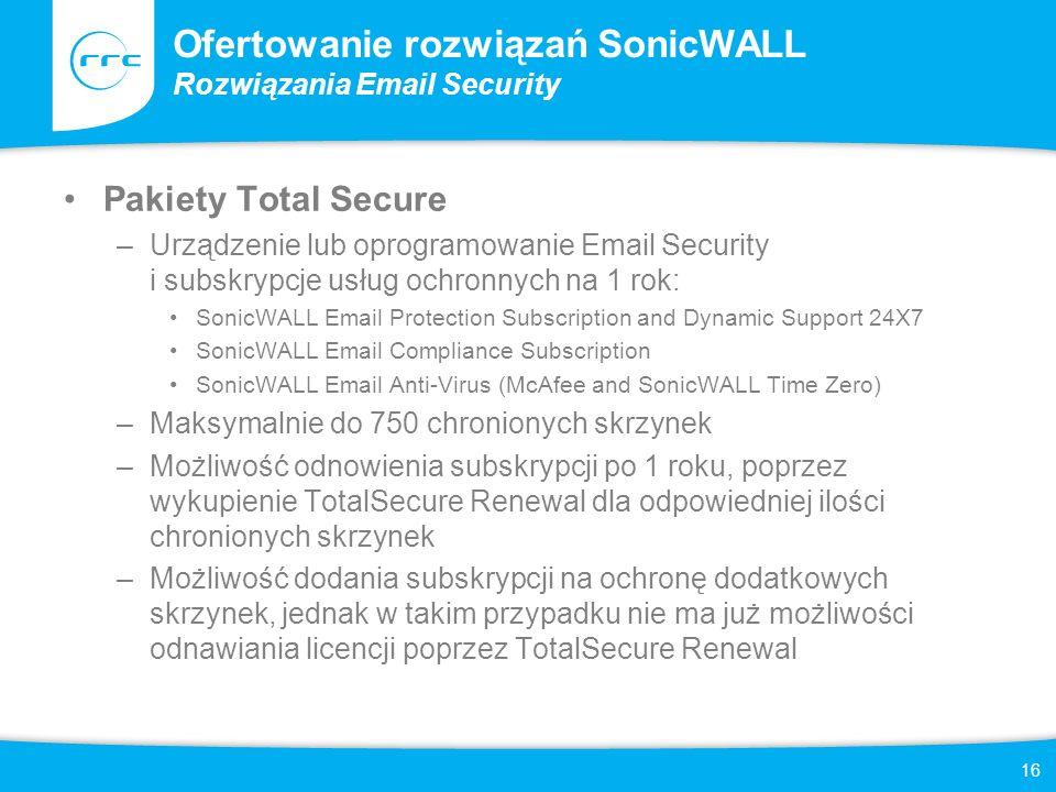 Ofertowanie rozwiązań SonicWALL Rozwiązania Email Security