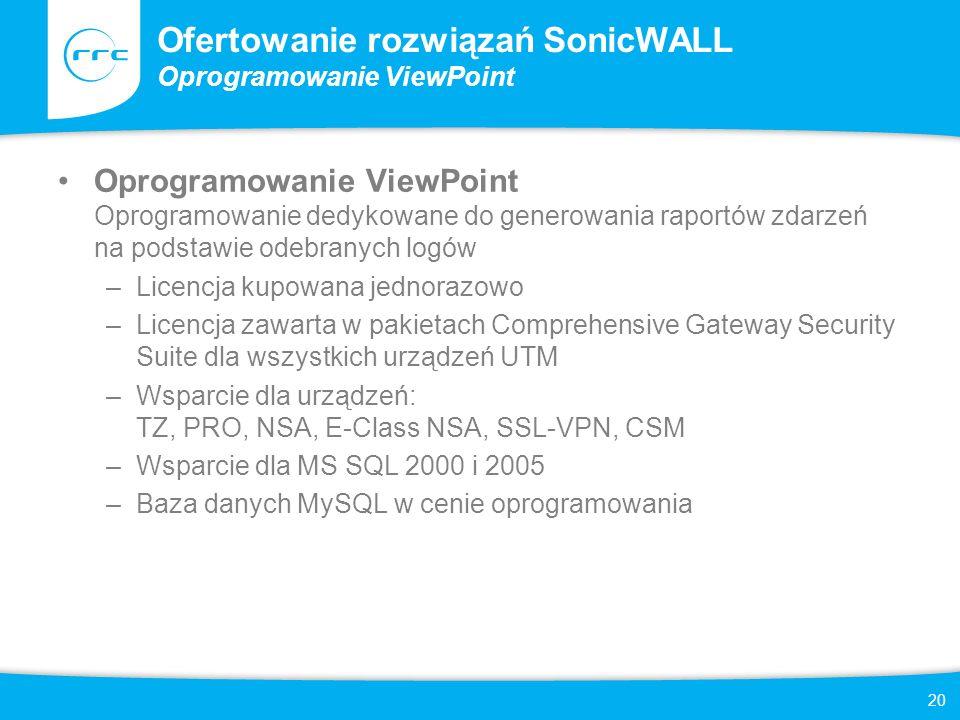 Ofertowanie rozwiązań SonicWALL Oprogramowanie ViewPoint