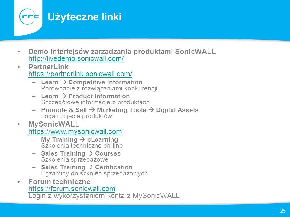Użyteczne linki Demo interfejsów zarządzania produktami SonicWALL http://livedemo.sonicwall.com/ PartnerLink https://partnerlink.sonicwall.com/