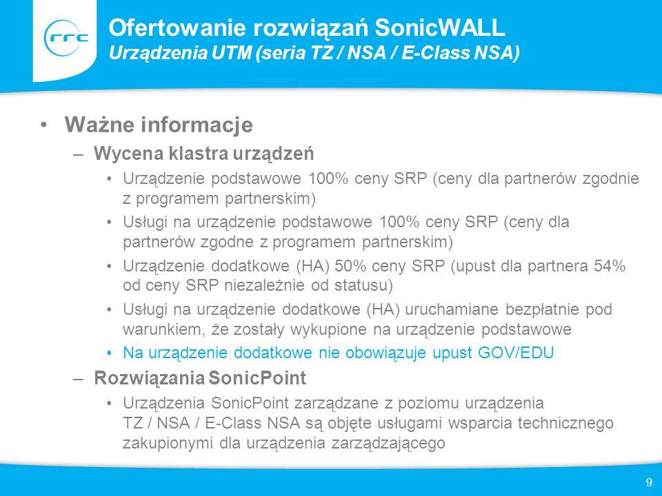 Ofertowanie rozwiązań SonicWALL Urządzenia UTM (seria TZ / NSA / E-Class NSA)