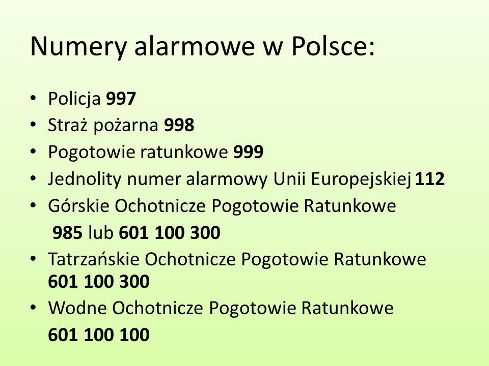 Numery alarmowe w Polsce:
