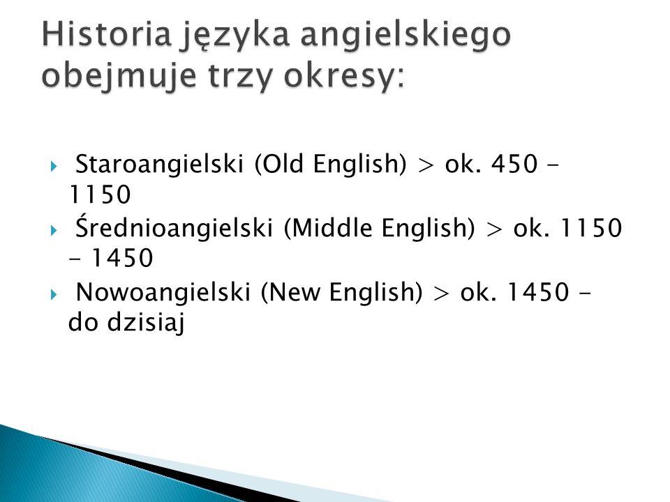 Historia języka angielskiego obejmuje trzy okresy: