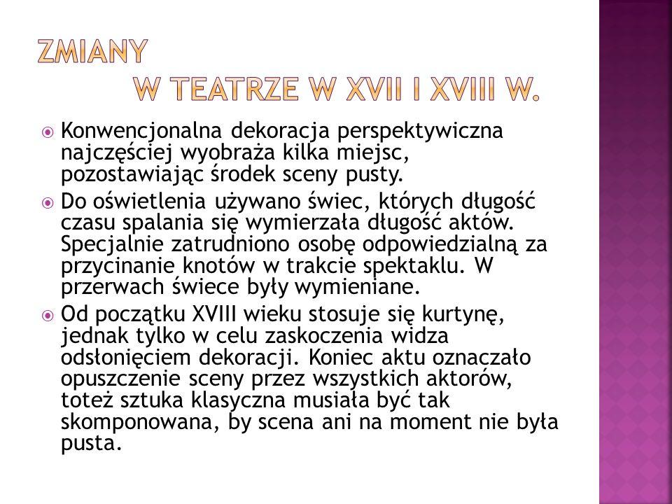 Zmiany w teatrze w Xvii i xviii w.