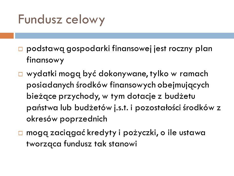 Fundusz celowypodstawą gospodarki finansowej jest roczny plan finansowy.
