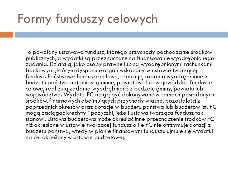 Formy funduszy celowych