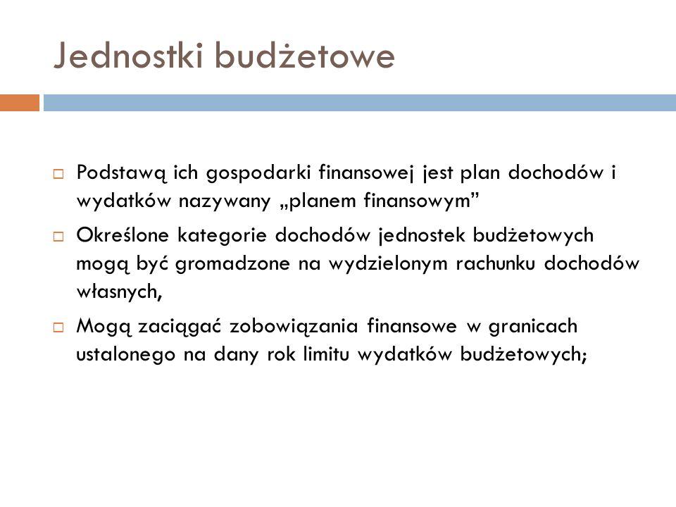 """Jednostki budżetowe Podstawą ich gospodarki finansowej jest plan dochodów i wydatków nazywany """"planem finansowym"""