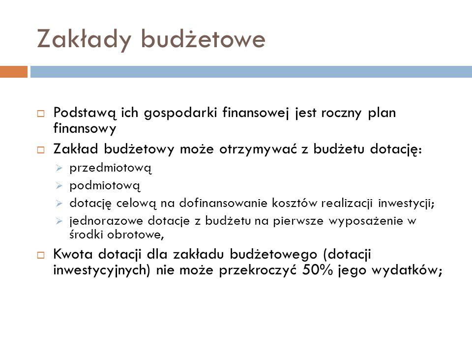 Zakłady budżetowe Podstawą ich gospodarki finansowej jest roczny plan finansowy. Zakład budżetowy może otrzymywać z budżetu dotację: