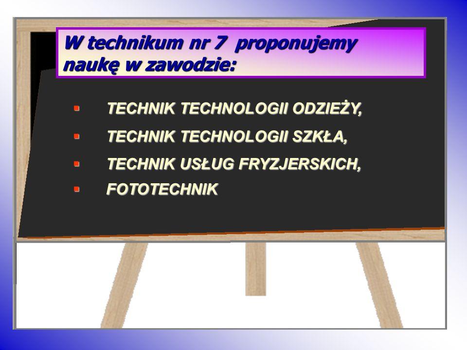 W technikum nr 7 proponujemy naukę w zawodzie: