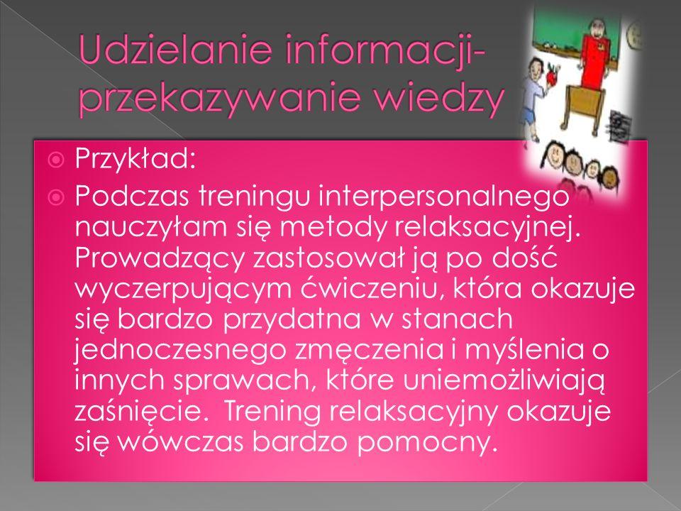 Udzielanie informacji- przekazywanie wiedzy