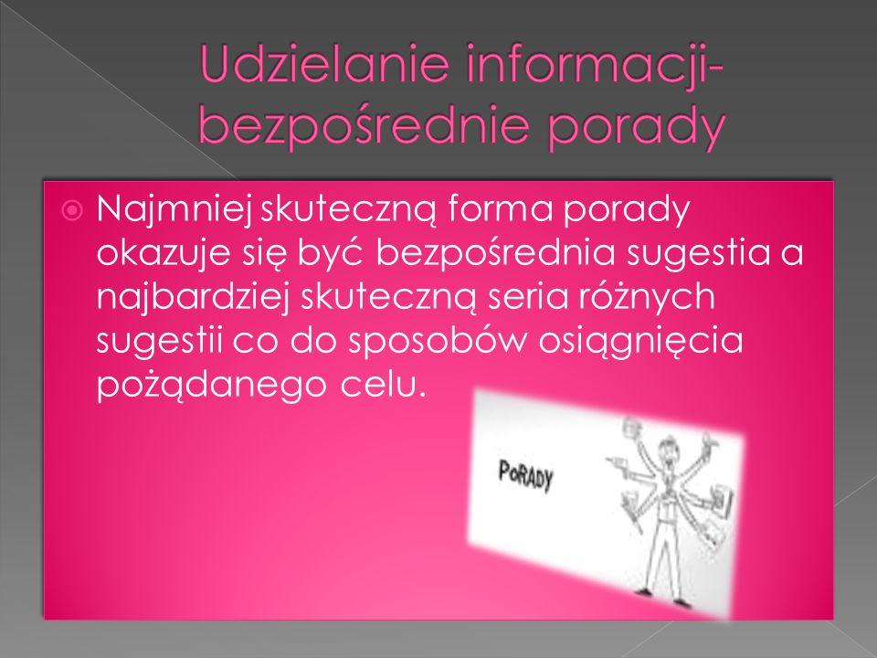 Udzielanie informacji- bezpośrednie porady