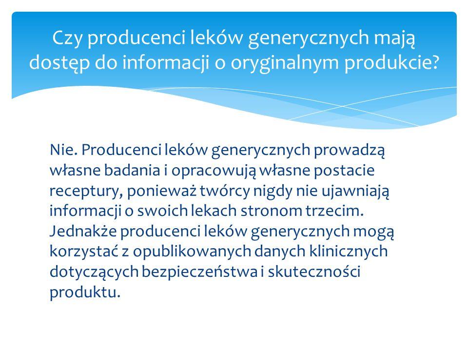 Czy producenci leków generycznych mają dostęp do informacji o oryginalnym produkcie
