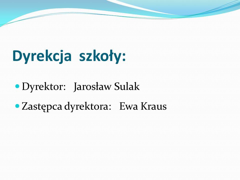 Dyrekcja szkoły: Dyrektor: Jarosław Sulak