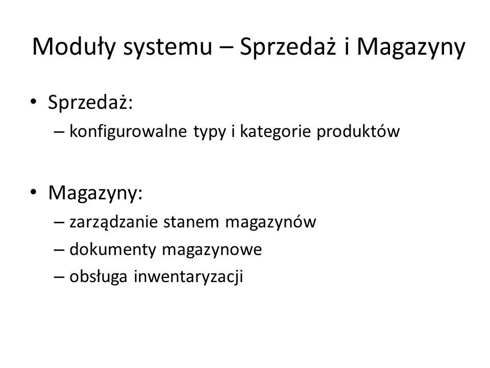 Moduły systemu – Sprzedaż i Magazyny