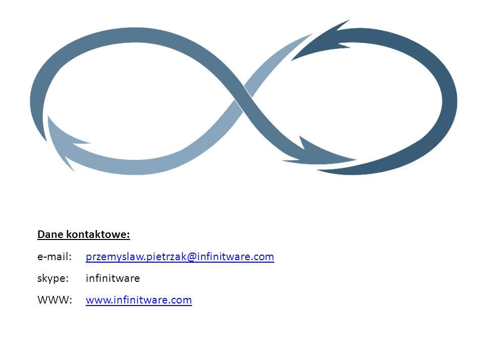 Dane kontaktowe: e-mail: przemyslaw.pietrzak@infinitware.com.