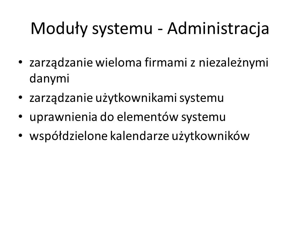 Moduły systemu - Administracja