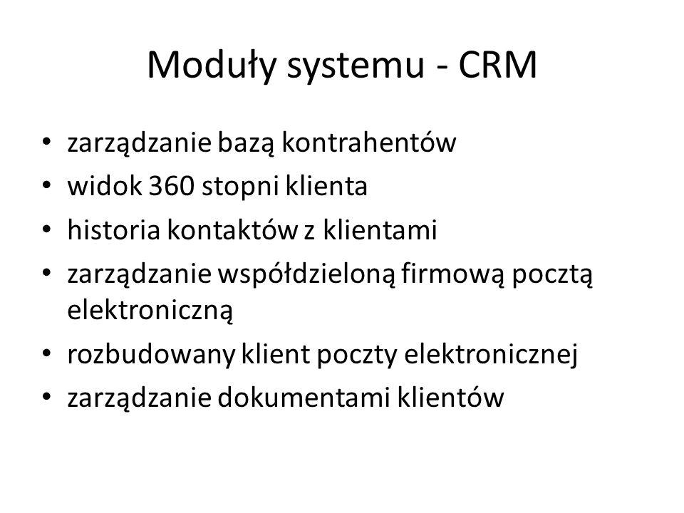 Moduły systemu - CRM zarządzanie bazą kontrahentów