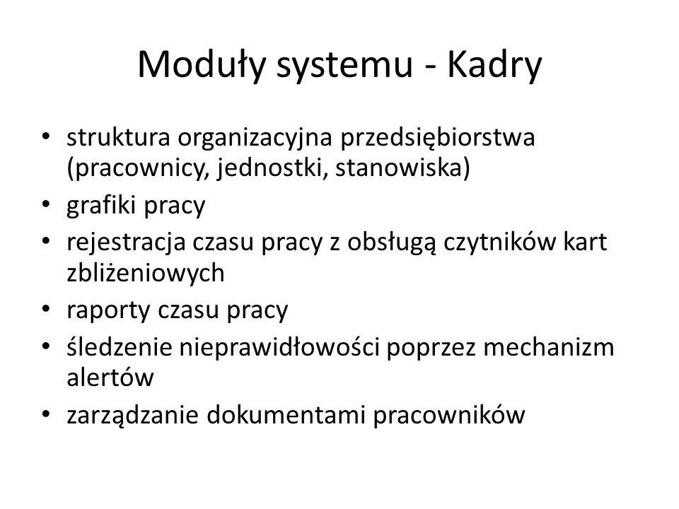 Moduły systemu - Kadry struktura organizacyjna przedsiębiorstwa (pracownicy, jednostki, stanowiska)