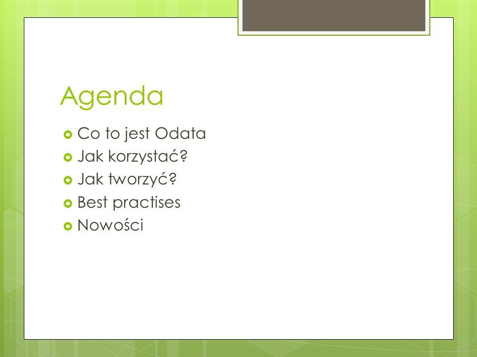 Agenda Co to jest Odata Jak korzystać Jak tworzyć Best practises