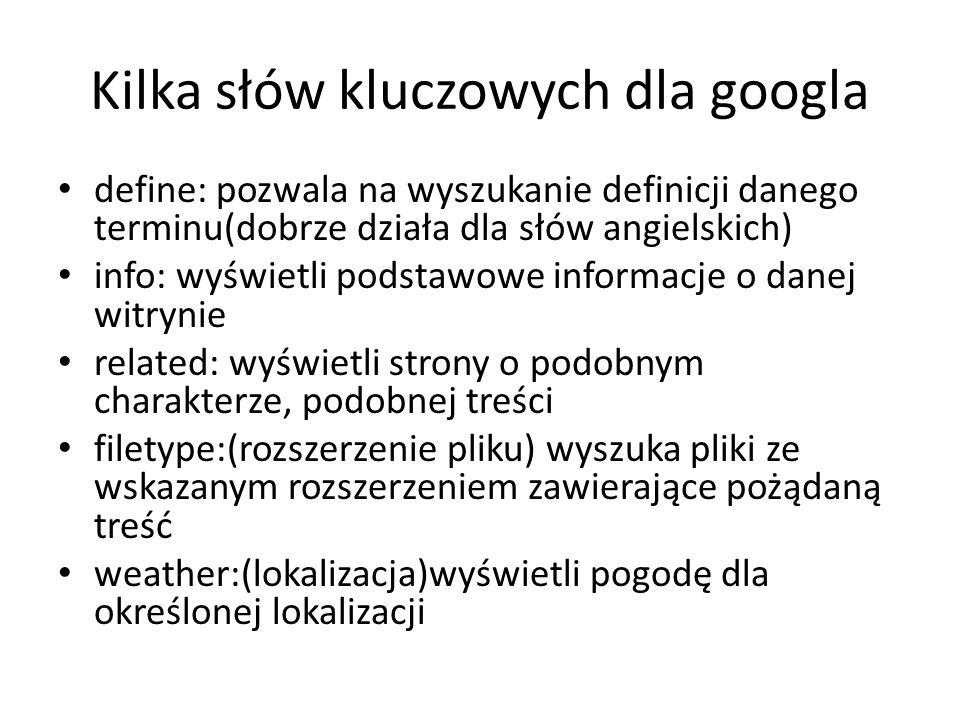 Kilka słów kluczowych dla googla