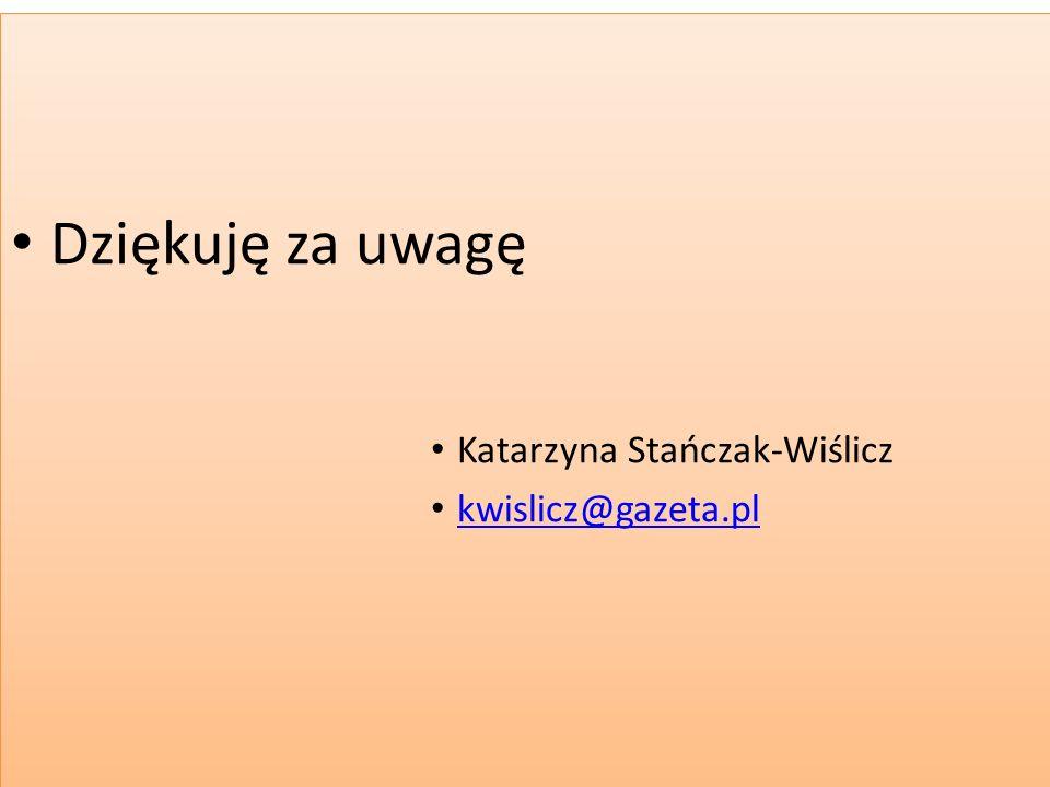 Dziękuję za uwagę Katarzyna Stańczak-Wiślicz kwislicz@gazeta.pl