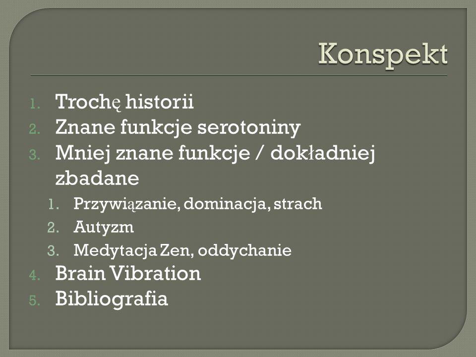 Konspekt Trochę historii Znane funkcje serotoniny