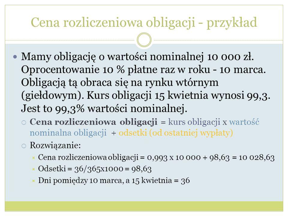 Cena rozliczeniowa obligacji - przykład